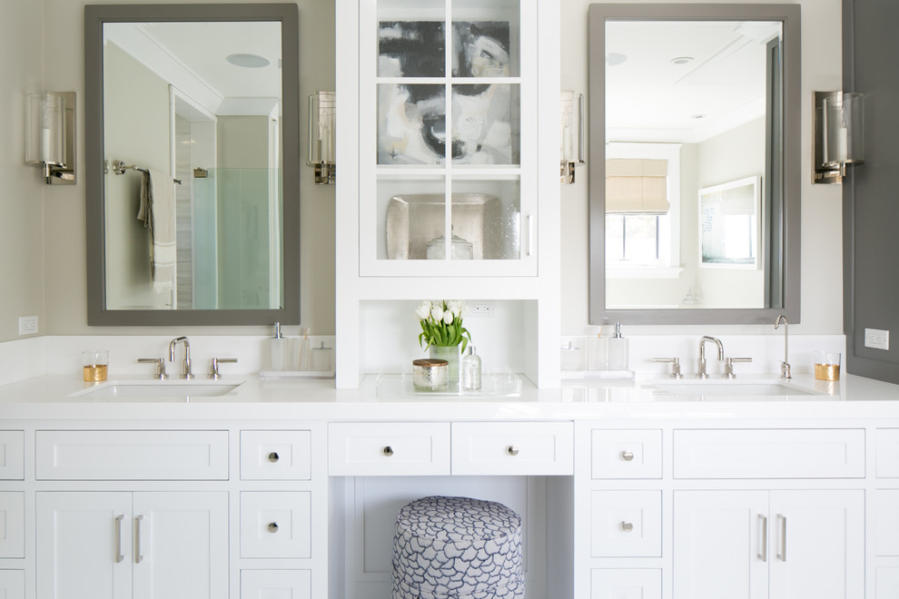 Inspiration for a transitional master bathroom remodel in Orange County with an undermount sink, shaker cabinets, white cabinets and beige walls
