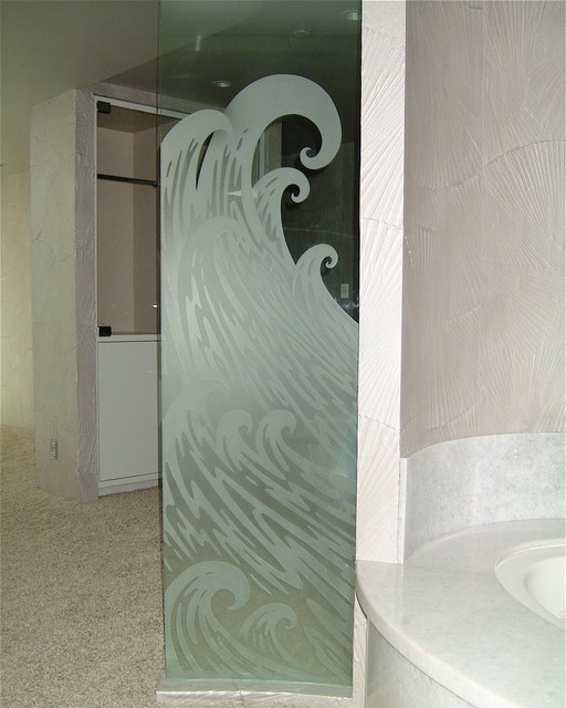 Newport Waves Glass Shower Partition beach-style-bathroom