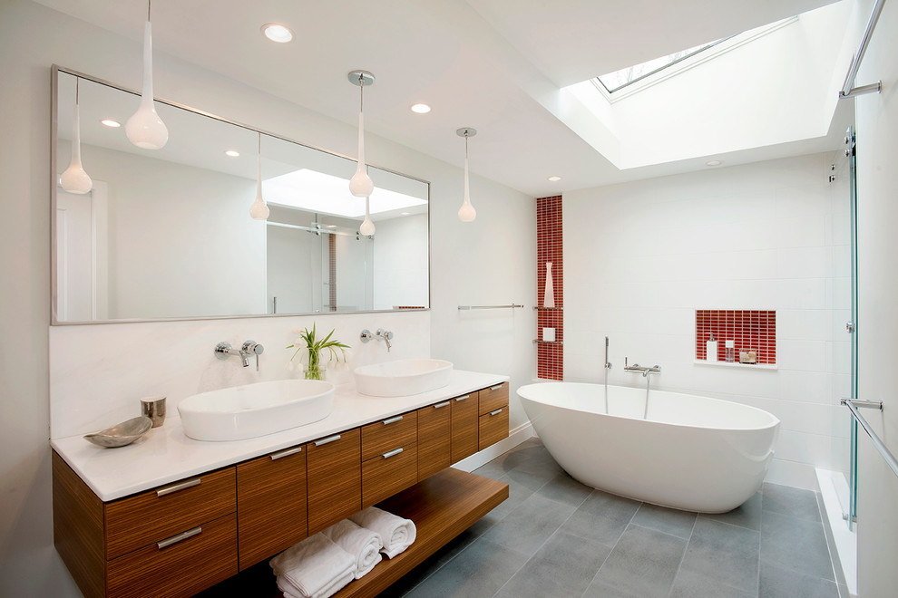 Trendy master red tile bathroom photo in Boston with flat-panel cabinets, medium tone wood cabinets, white walls and a vessel sink