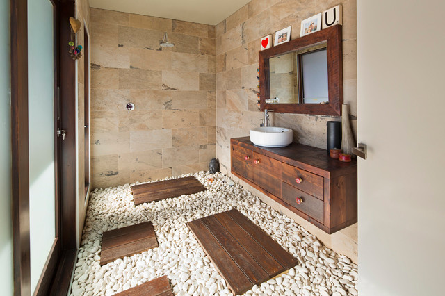 Trendy Beige Tile Bathroom Photo In Sydney With A Vessel Sink, Flat Panel  Cabinets
