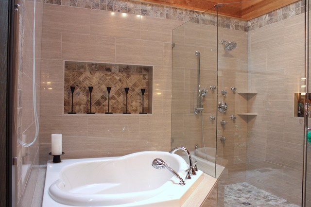Nice corner soaker jet tub contemporary bathroom other metro by novarae interiors - Contemporary corner soaking tubs ...