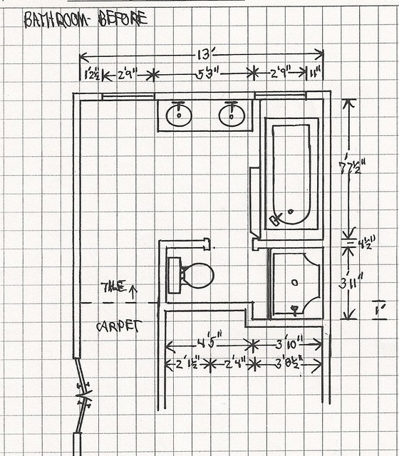 NLT Construction- Floor plan Drawings- Before modern-bathroom
