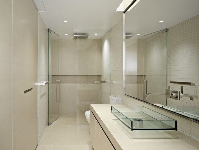 Trendy walk-in shower photo in San Francisco with a vessel sink