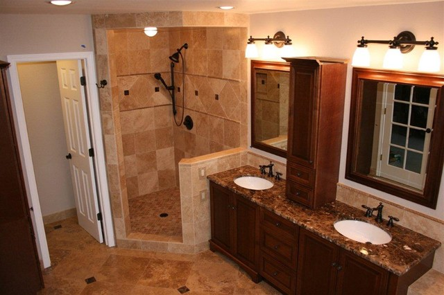 Noce and cafe light travertine bathroom remodel traditional bathroom portland by rock for Travertine tile bathroom ideas