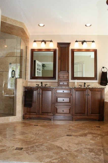 Noce And Cafe Light Travertine Bathroom Remodel