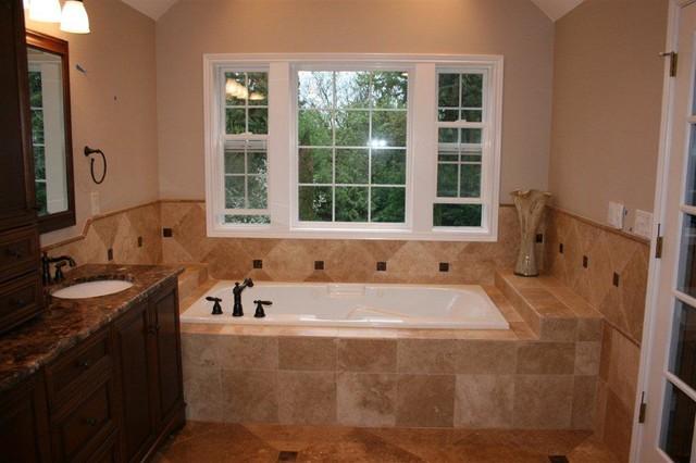 Noce And Cafe Light Travertine Bathroom Remodel
