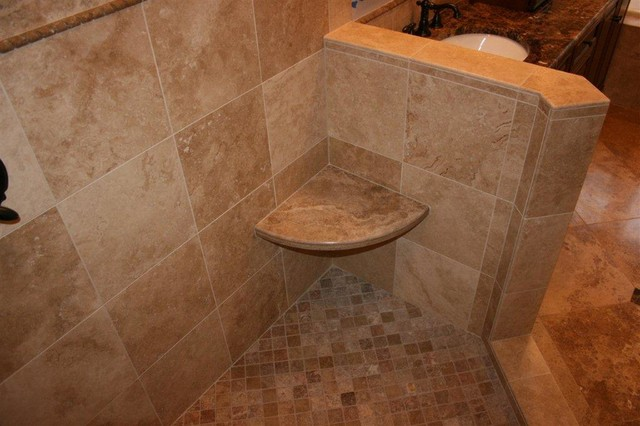 Noce and cafe light travertine bathroom remodel for Beau jardin bath rocks