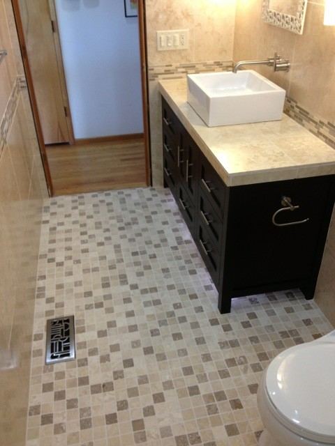 Mosaic floor tile bathroom