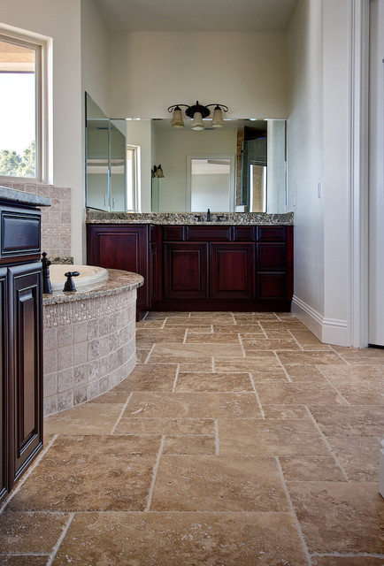 Noce Travertine Tiles Traditional Bathroom Tampa