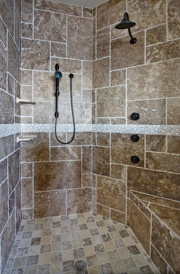 Noce Travertine Tiles Rustic Bathroom Tampa By
