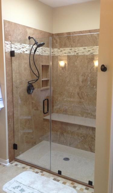 Noce Travertine Tub To Shower Conversion Contemporary