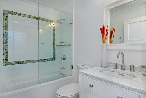 Houzz half bathroom - Design By Kirsty Use Small Pops Of Glass In Bathroom Tile Design