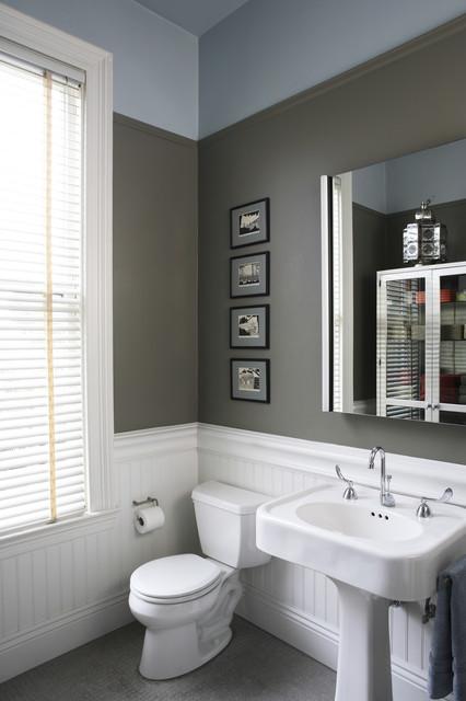 bead board gray walls floor bath