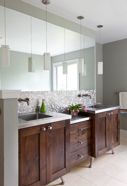 Bathroom - large transitional master gray tile and metal tile ceramic floor bathroom idea in Denver with dark wood cabinets, stainless steel countertops, gray walls, an integrated sink and shaker cabinets