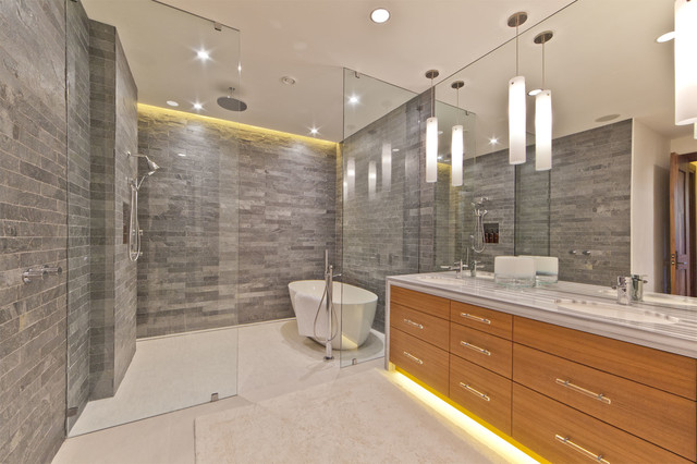 shower lighting. Mountain Style Stone Tile Freestanding Bathtub Photo In San Francisco Shower Lighting E