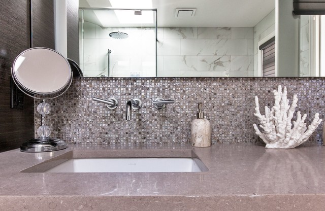 Bathroom Tiles Vancouver north vancouver- modern bathrooms, abalone mosaic tiles