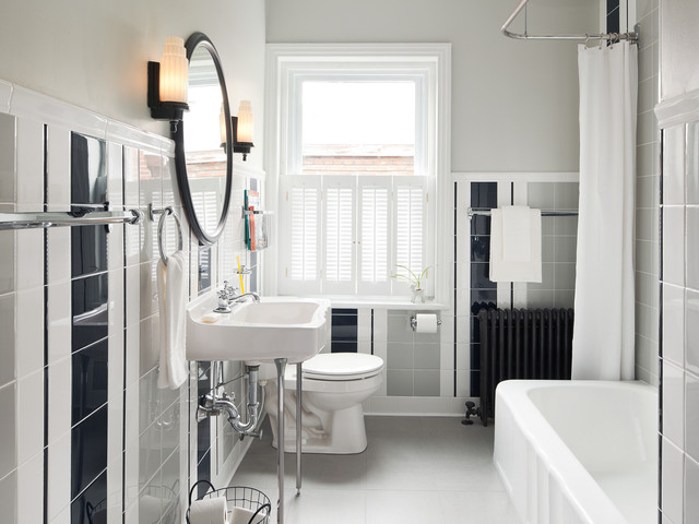 Striped Guest Bath traditional bathroom