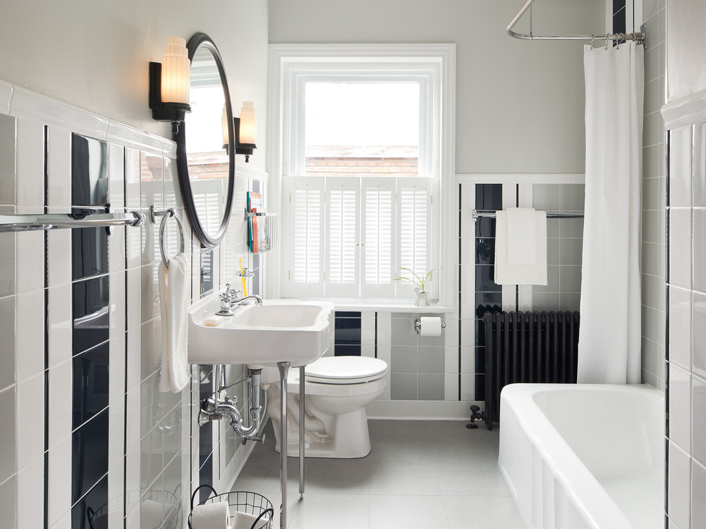 Inspiration for a timeless gray floor shower curtain remodel in Philadelphia with a console sink