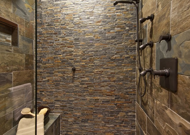 Northwest stone mosiac shower bathroom for Cabin shower tile ideas