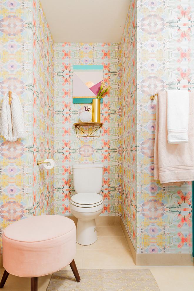 Example of a trendy beige floor bathroom design in Austin with multicolored walls