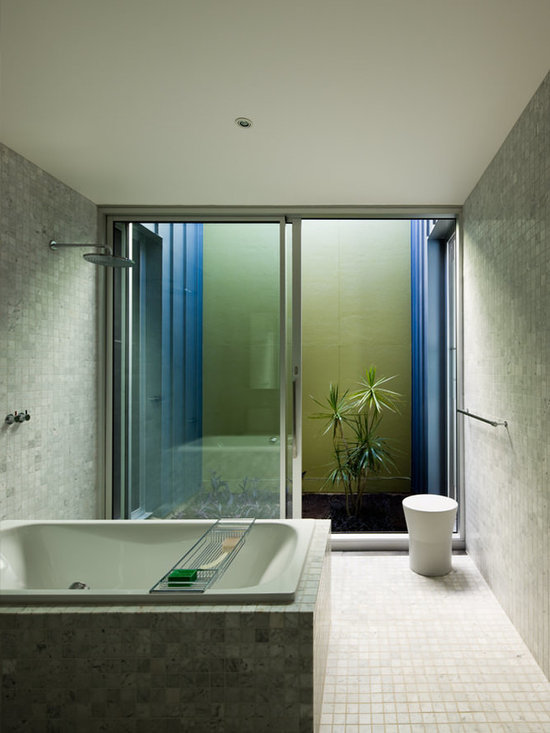 lowes wall panels Bathroom Design Photos with a Drop-In Tub, Mosaic ...