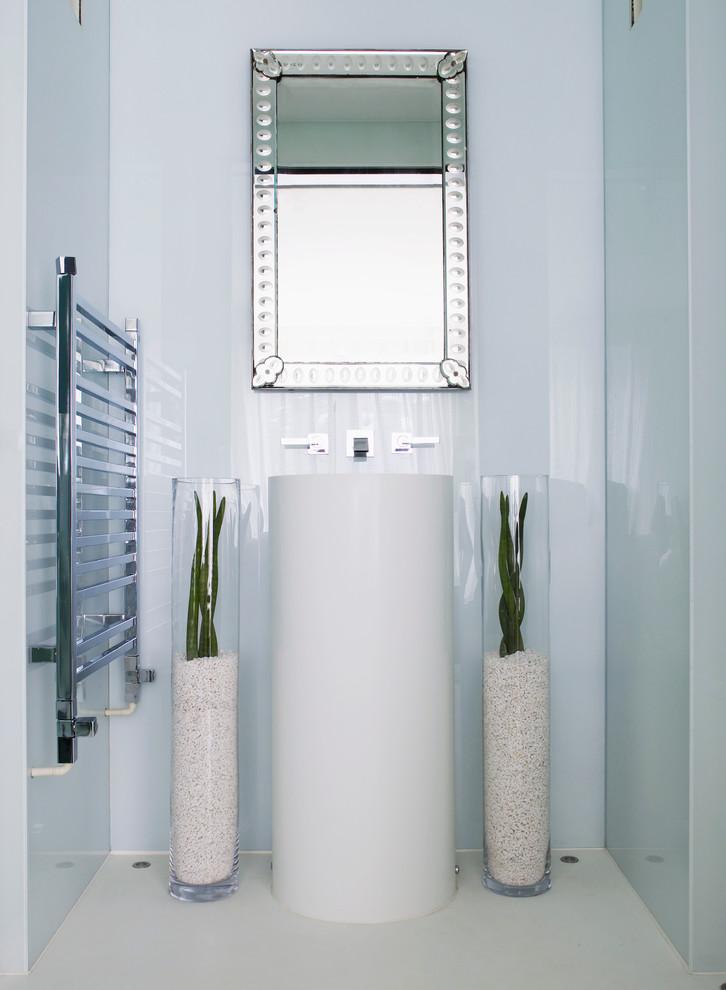 Bathroom - contemporary bathroom idea in London with an integrated sink