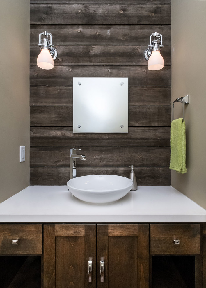 Example of a large trendy bathroom design in Portland with a vessel sink, dark wood cabinets, quartz countertops, shaker cabinets, a two-piece toilet, beige walls and white countertops