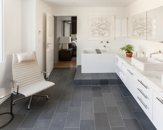 Amazing  By The Bathroom Vanities Scandinavian Bathroom With White Mosaic Tiles