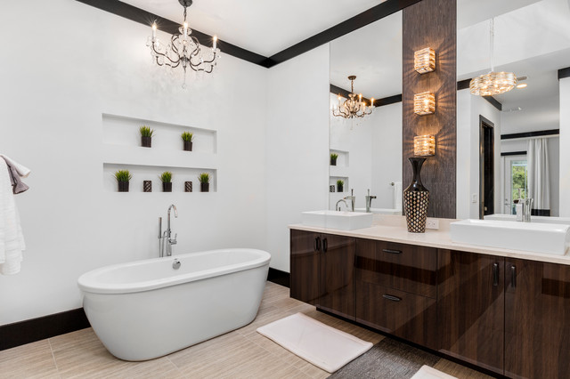 Inspiration for a large master beige tile and porcelain tile porcelain floor bathroom remodel in Orlando with flat-panel cabinets, dark wood cabinets, white walls, a pedestal sink and engineered quartz countertops