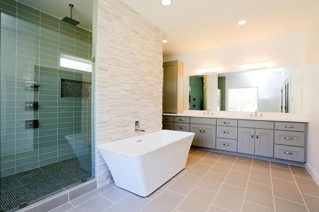 Oak Forest New Custom Home Cheshire Master Bathroom Contemporary Bathroom Houston By