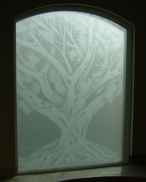 OAK TREE Bathroom Windows   Frosted Glass Designs Privacy Glass  Mediterranean Bathroom