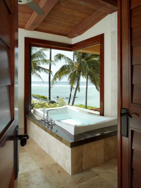 Ocean Front Tropical Bathroom Hawaii By Applegate