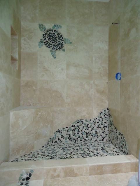 Ocean turtle shower traditional bathroom san diego for Kitchen design 01532