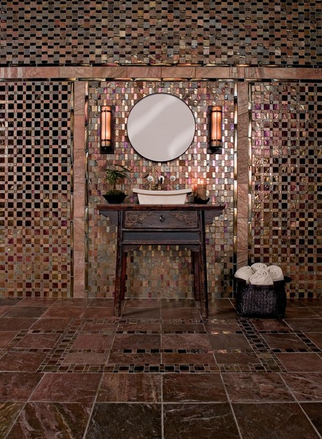 Oceanside Glasstile Geologie Vanity eclectic bathroom