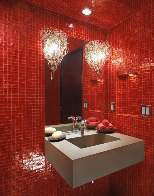 Oceanside Glasstile Red 777 Bath Modern Bathroom