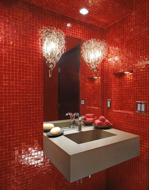 Oceanside Glasstile Red 777 Bath modern bathroom