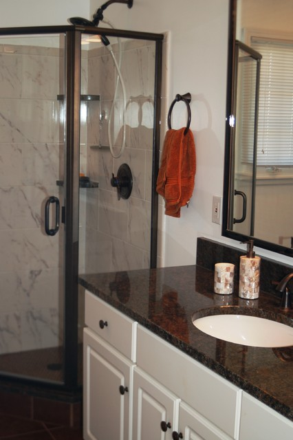 oil rubbed bronze meets carrara marble eclectic