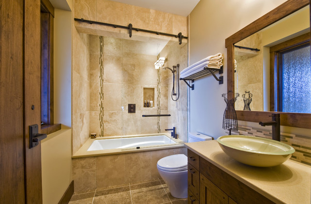 OKANAGAN LOG HOME contemporary bathroom