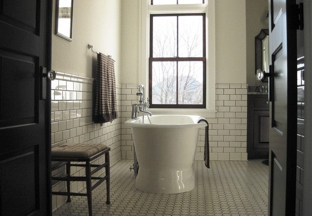 Old stone farm house farmhouse bathroom other metro for Old tile bathroom ideas