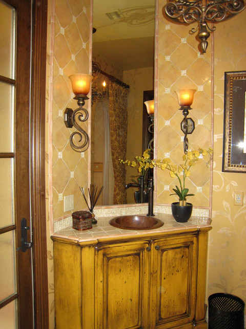 Old World Powder Room mediterranean bathroom
