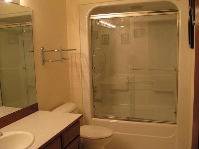 One piece acrylic tub shower unit bathroom seattle for 3 piece bathroom ideas