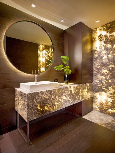 Onyx Black Cloud - backlit - Contemporary - Bathroom - Miami - by Marble of the World