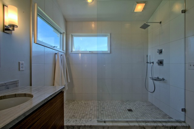 Open Concept Shower With Glass Partition And No Door