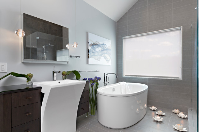 Open Contemporary Bath with Walnut Vanity and Hidden Storage ... on tiffany blue and gray bathroom, soft blue and gray bathroom, teal bathroom ideas, royal blue and gray bathroom, sky blue and gray bathroom, espresso and gray bathroom, gray and yellow bathroom, almond and gray bathroom, teal painted bathroom, teal colored bathrooms, black and white decor for a bathroom, purple and gray bathroom, white and gray bathroom, dark green and gray bathroom, silver blue and gray bathroom, powder blue and gray bathroom, teal bathroom cabinets, olive green and gray bathroom, black and gray bathroom, brown and gray bathroom,