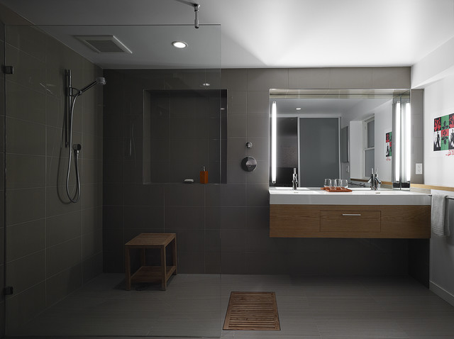 Open plan bathroom modern bathroom other by at6 architecture design build - Open shower bathroom design ...