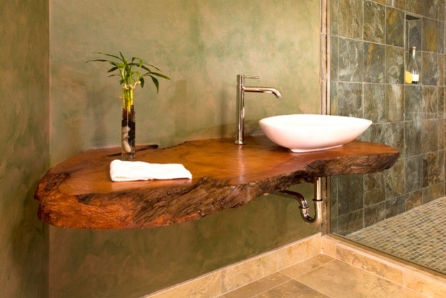 Open Shower Amp Floating Wood Counter Asian Bathroom