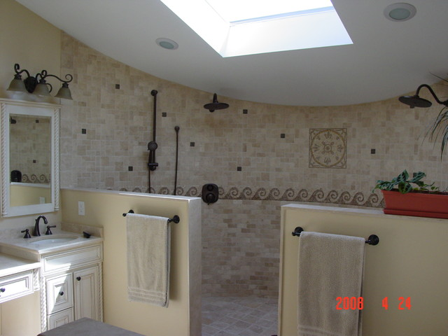 Open shower design traditional bathroom other by alfano renovations kitchen bath - Kitchen and bathroom designers ...