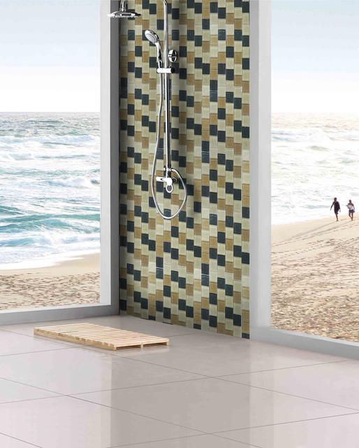 Open shower room with amazonia 2x2 glass tile backsplash for Bathroom design 2x2