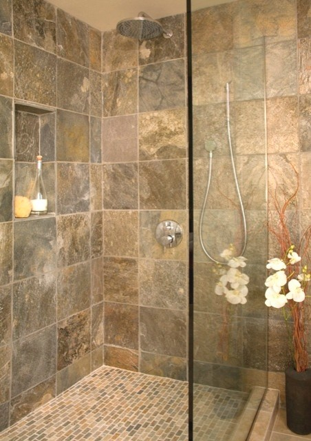 Open shower with shampoo niche   Asian   Bathroom   seattle   by