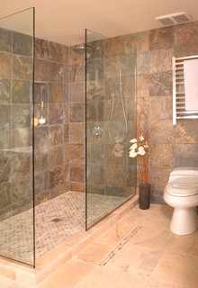 Open Shower Without Door Asian Bathroom Seattle By